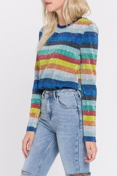 Grey Lab Sequin Striped Sweater - Product List Image