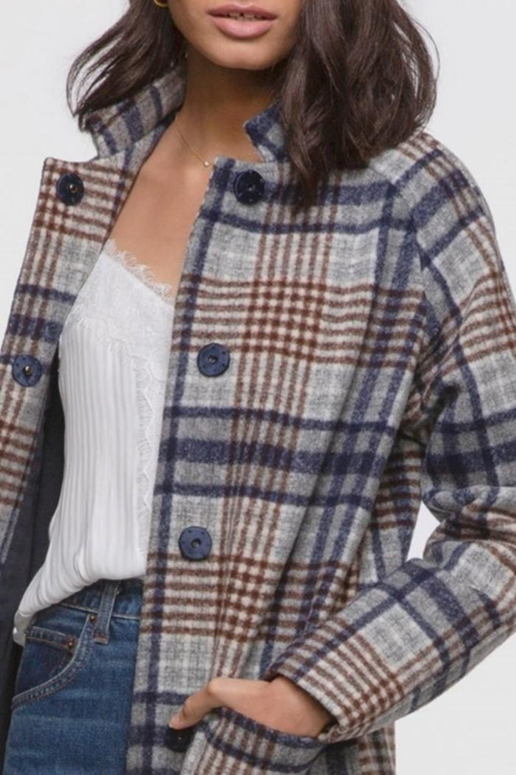 Greylin Austar Plaid Coat - Main Image