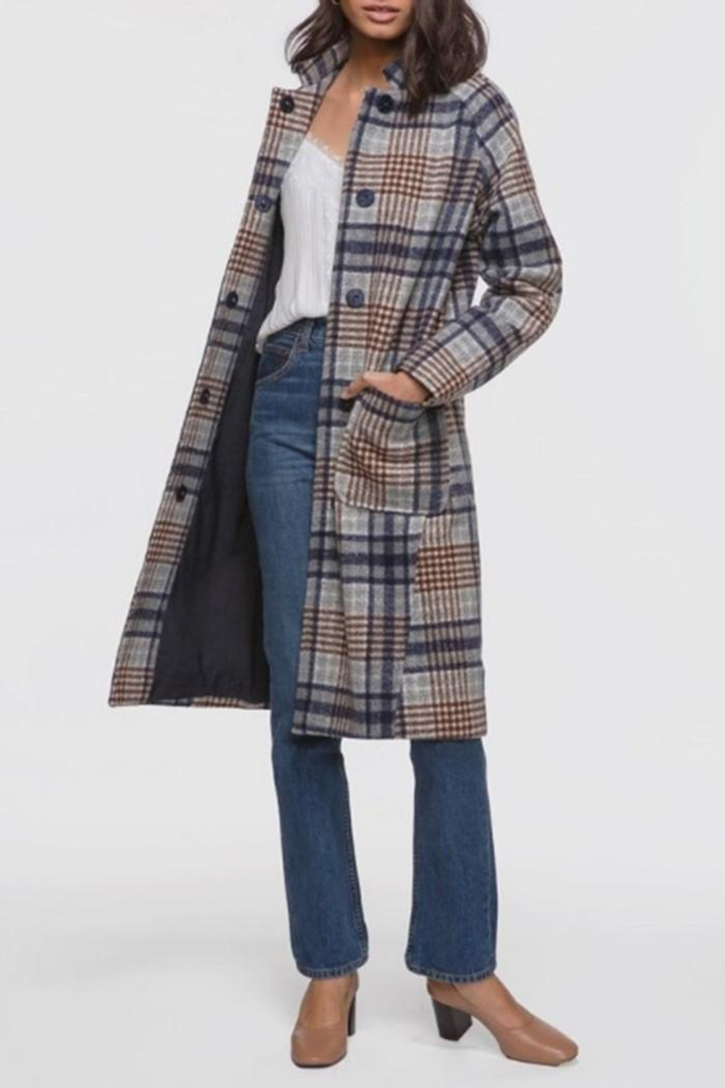 Greylin Austar Plaid Coat - Front Full Image