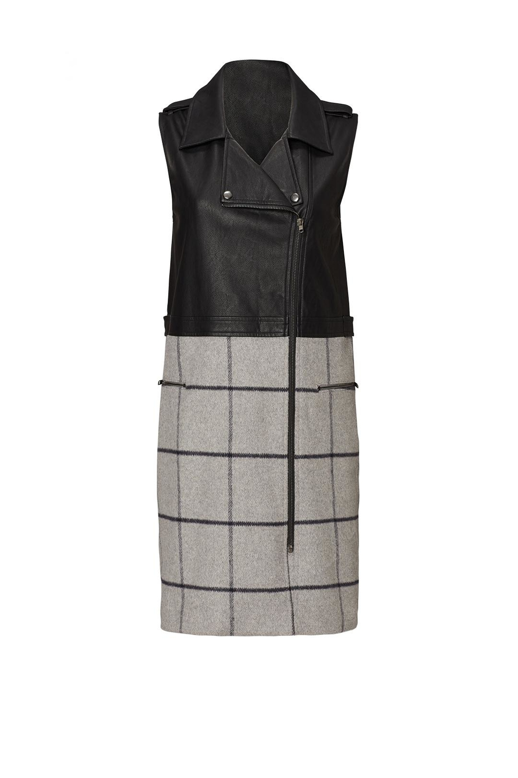 Greylin Plaid Moto Vest - Front Cropped Image