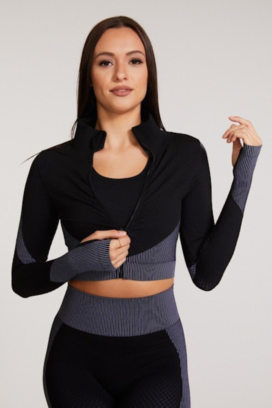 Miss Sparkling Gracie Cropped Zip-Up Top - Main Image