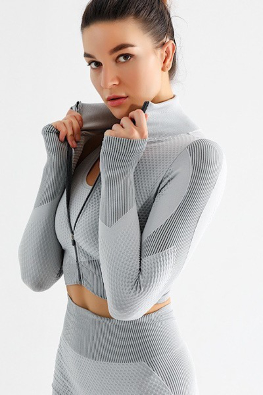 Miss Sparkling Gracie Cropped Zip-Up Top - Front Cropped Image