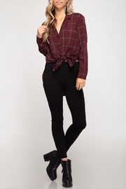 She + Sky Grid Button Up - Product Mini Image