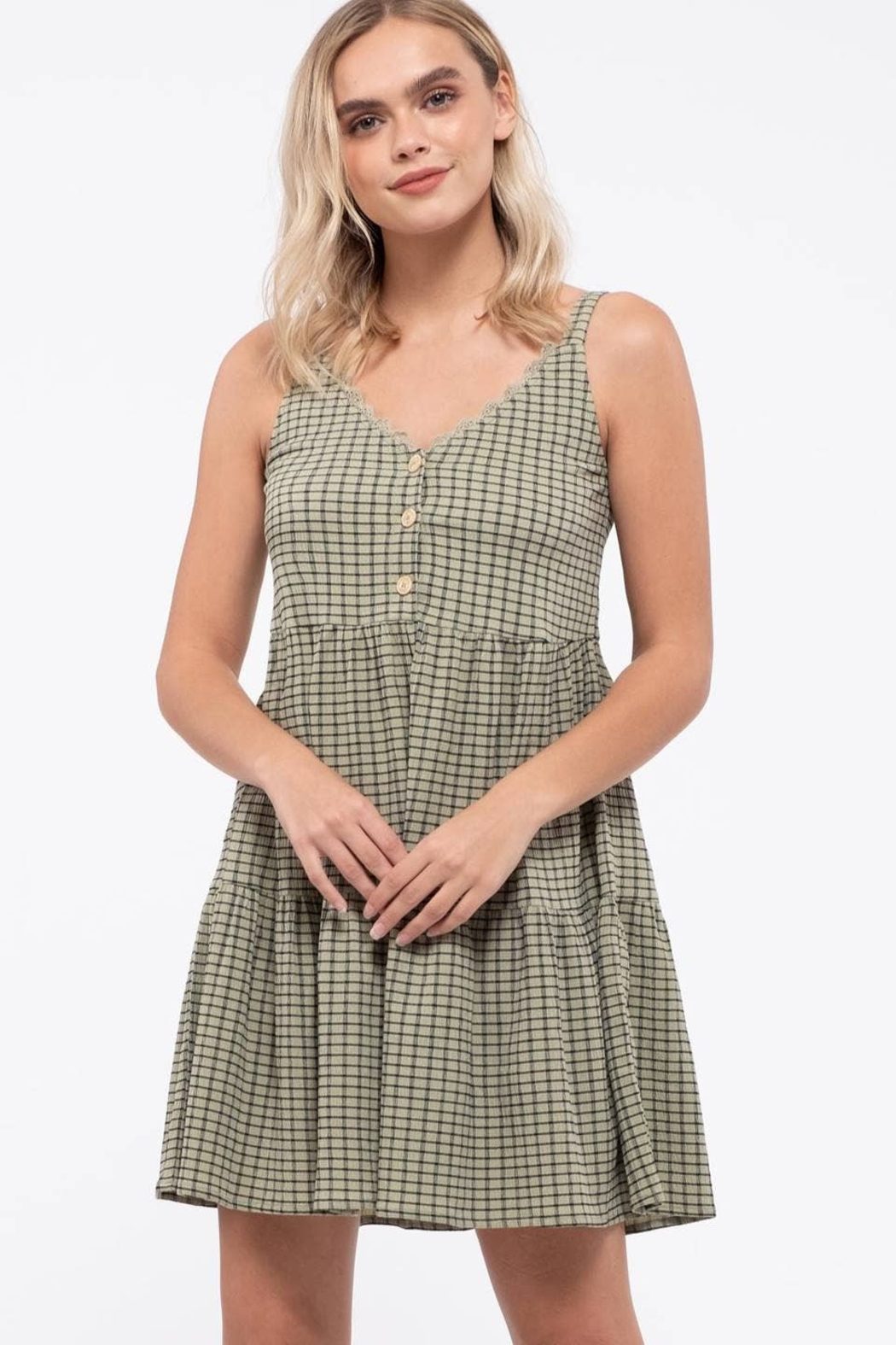 blu pepper  Grid Check Tiered Dress - Back Cropped Image