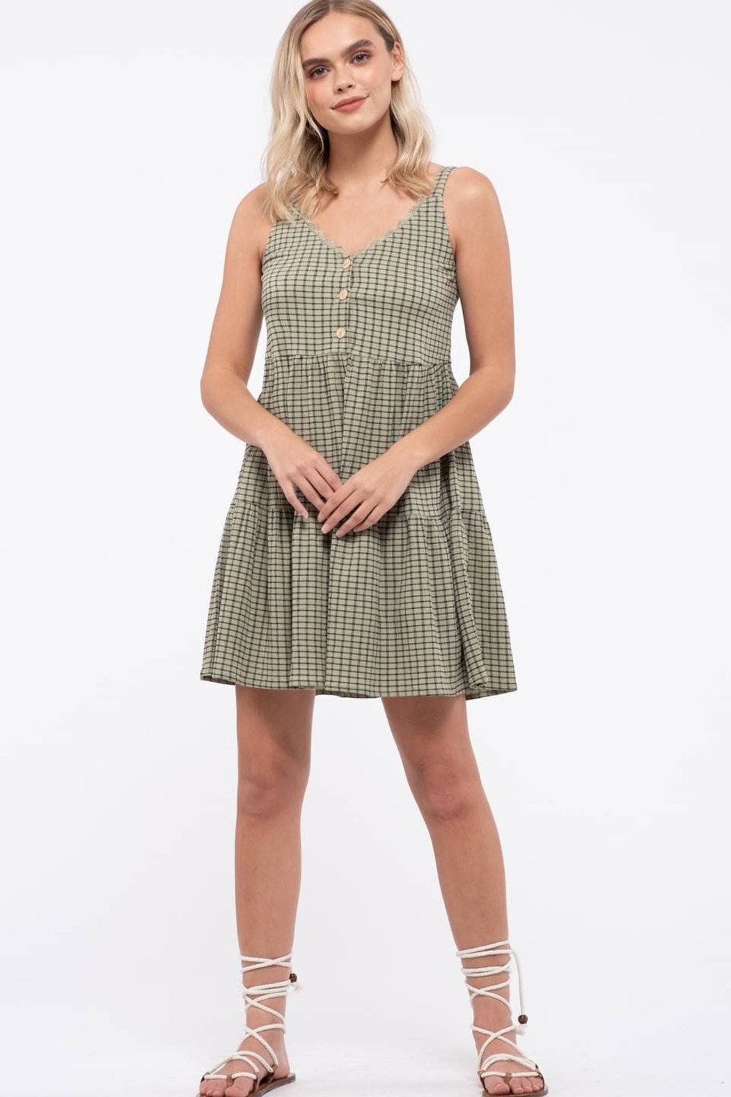 blu pepper  Grid Check Tiered Dress - Front Full Image