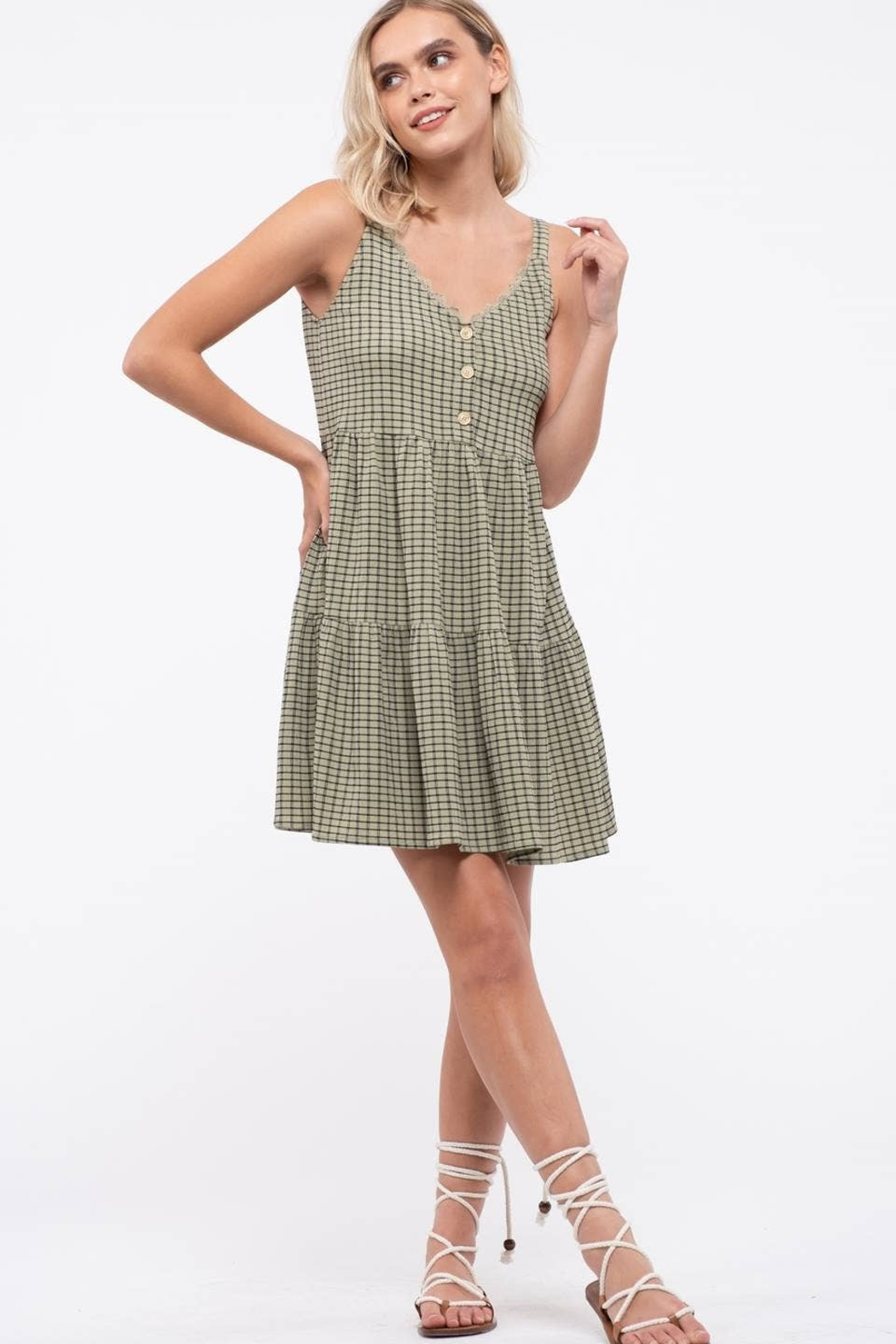 blu pepper  Grid Check Tiered Dress - Main Image