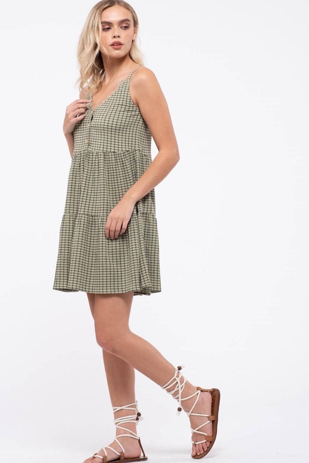 blu pepper  Grid Check Tiered Dress - Side Cropped Image