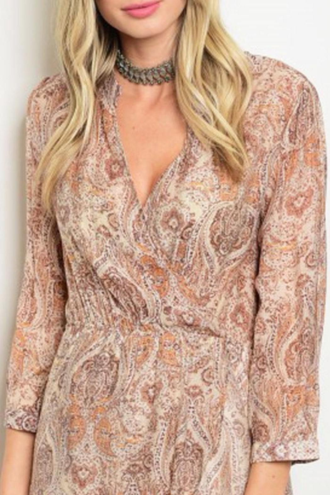 Grifflin Paris Paisley Wrap Dress - Side Cropped Image