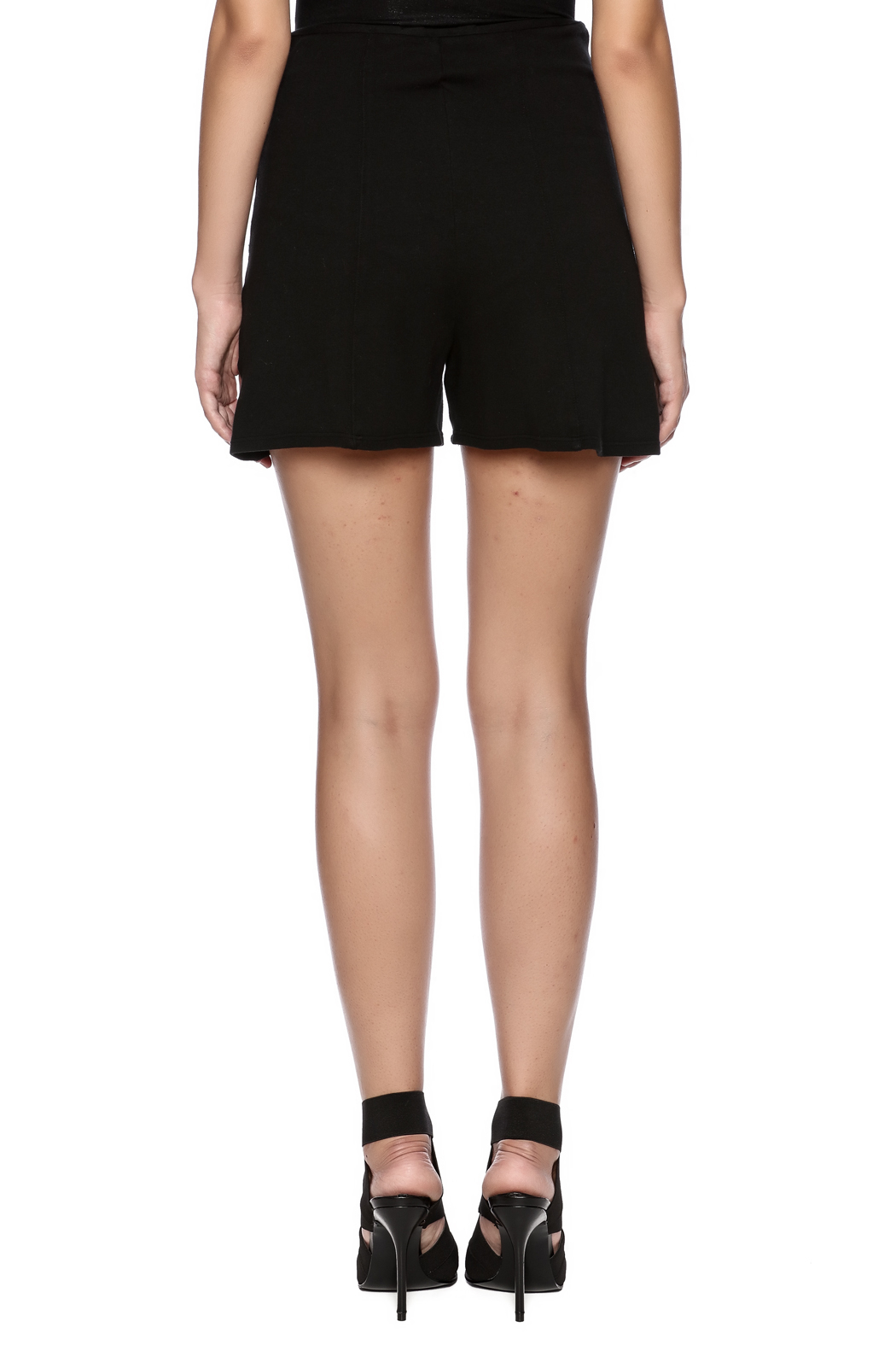 Groceries Apparel Black High Waisted Short - Back Cropped Image