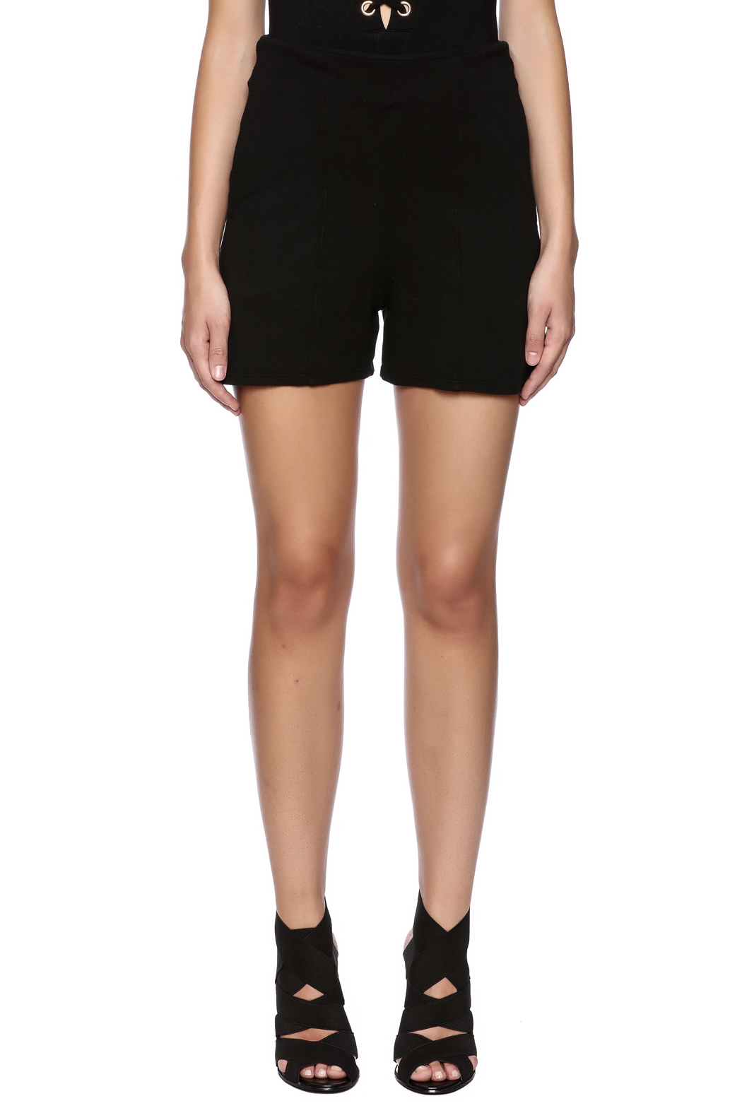 Groceries Apparel Black High Waisted Short - Side Cropped Image