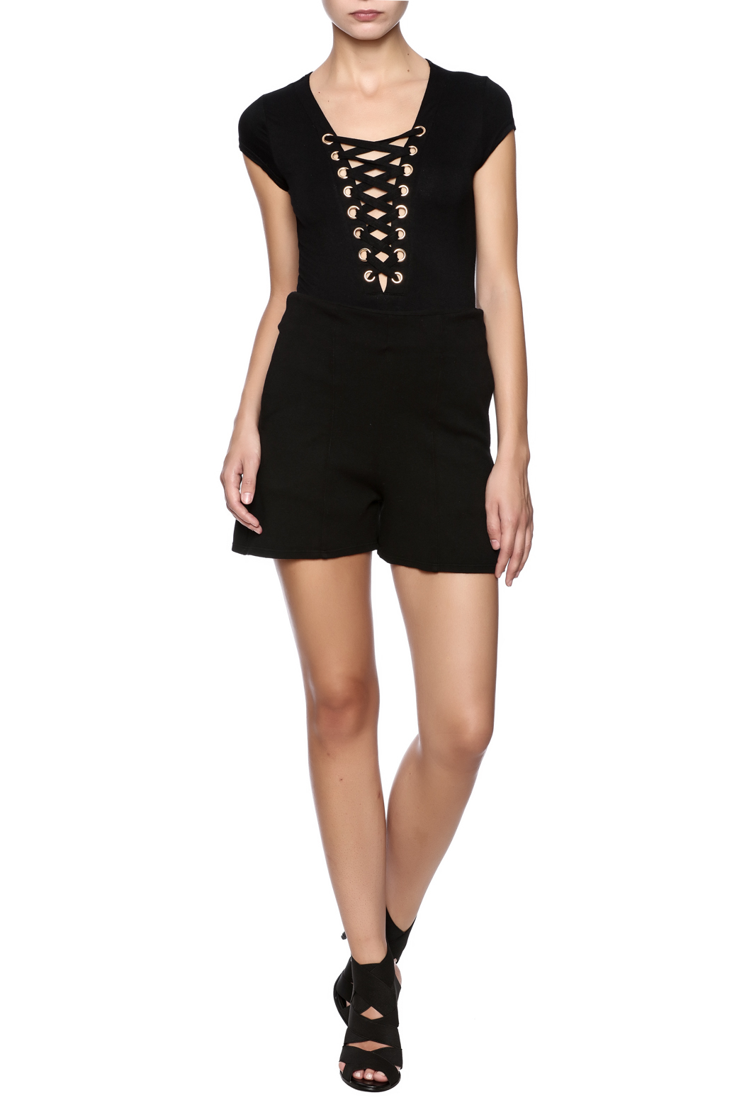 Groceries Apparel Black High Waisted Short - Front Full Image