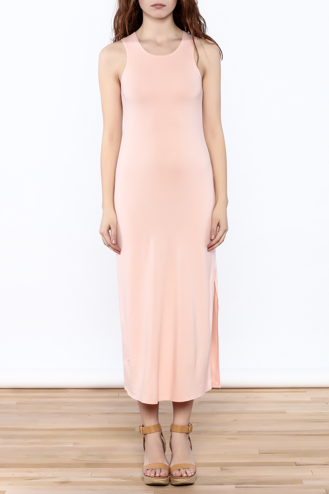 Groceries Apparel Powder Pink Maxi Dress - Front Cropped Image