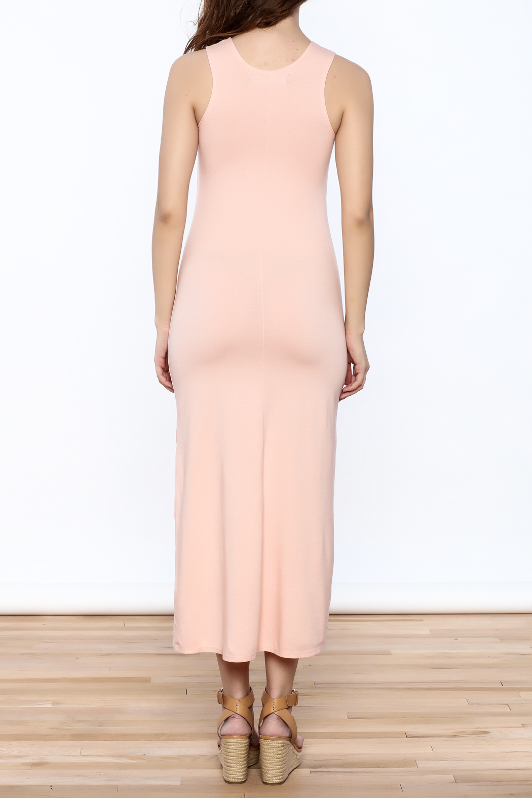 Groceries Apparel Powder Pink Maxi Dress - Back Cropped Image