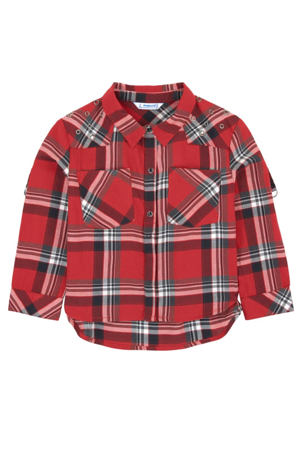 Mayoral Grommet Plaid Blouse - Front Cropped Image