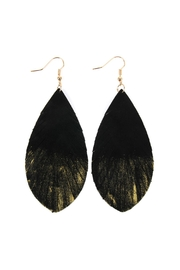 Riah Fashion Grunge-Tone Fringed-Drop Leather-Earrings - Product Mini Image