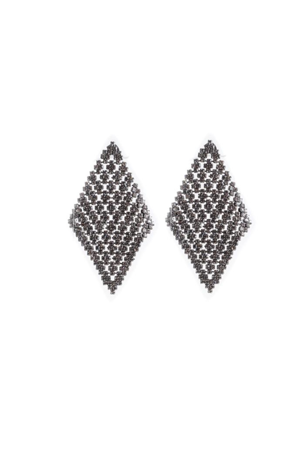 Lets Accessorize Gunmetal Crystal Earring - Front Cropped Image