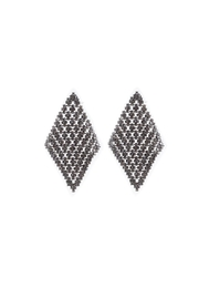 Lets Accessorize Gunmetal Crystal Earring - Front cropped