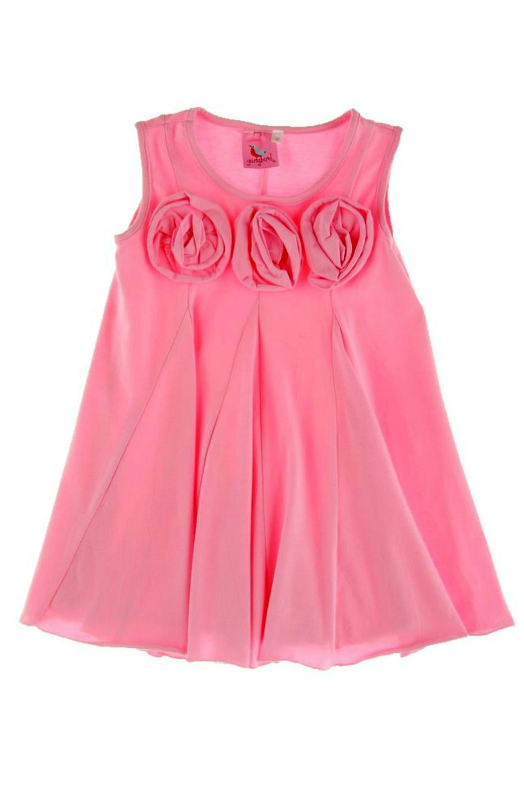 Gurly Bird Light-Pink-Rosette-Neckline-Swing-Tunic - Back Cropped Image