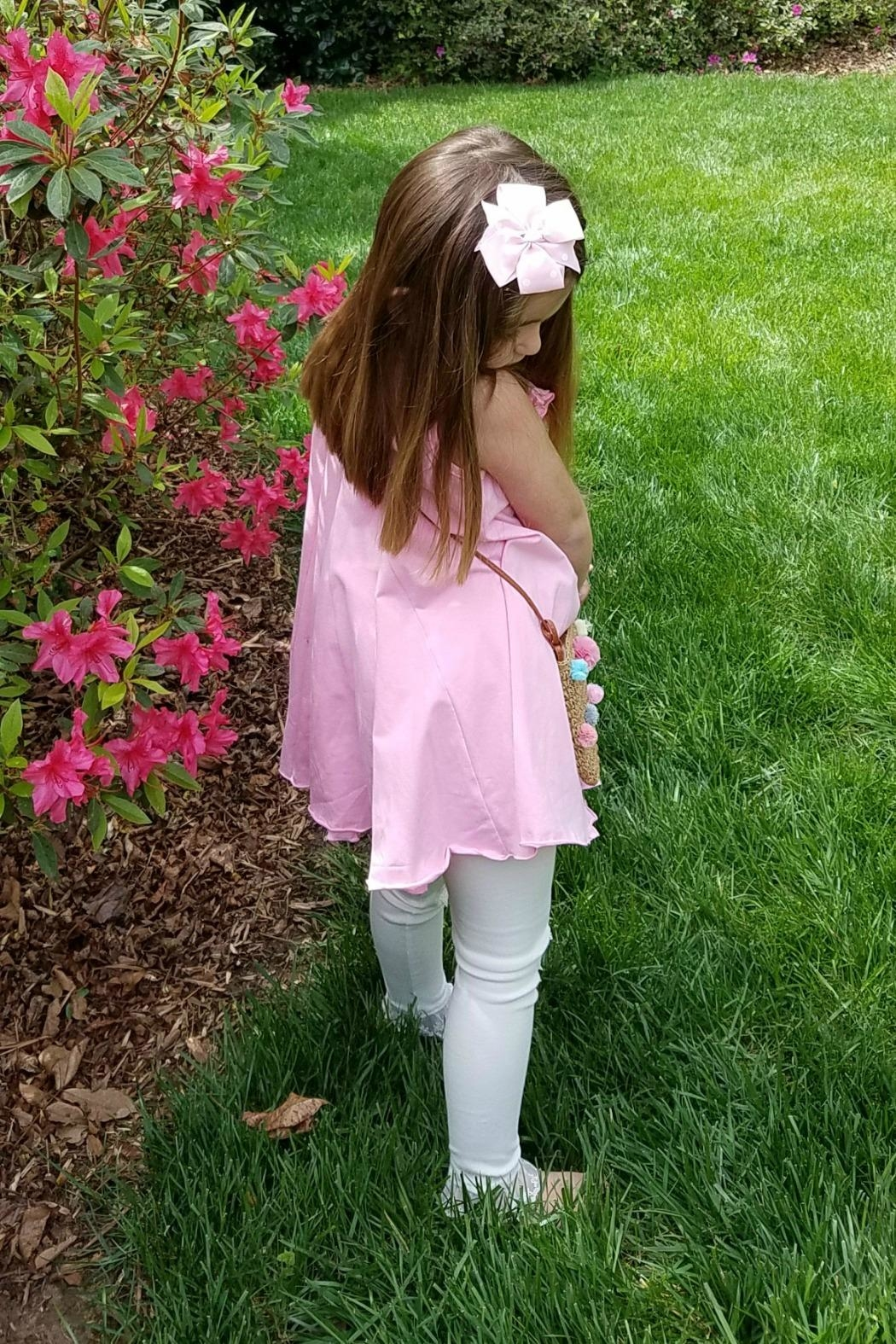 Gurly Bird Light-Pink-Rosette-Neckline-Swing-Tunic - Front Full Image