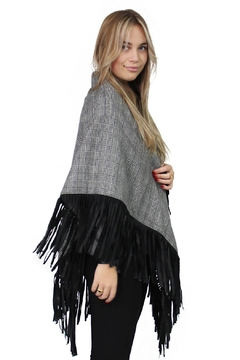 Shoptiques Product: Poncho Checkered Fringe