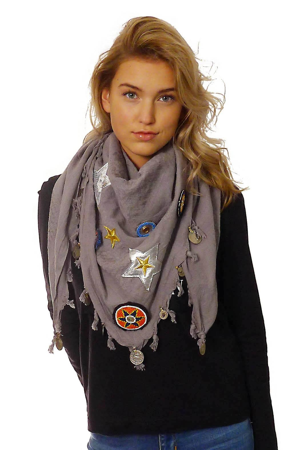 Gypsetters Shawl Shemagh Embellished Plain - Front Cropped Image