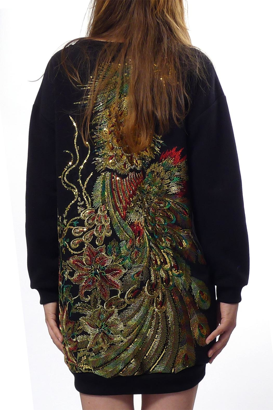 Gypsetters Sweat Dress Peacock - Front Cropped Image