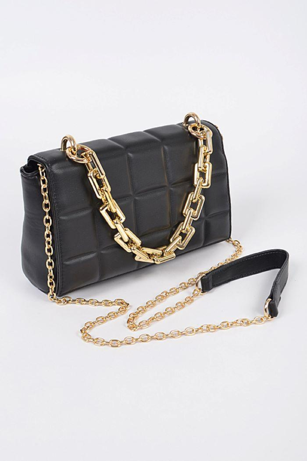 H&D Accessories Big Square Quilted Cross Body Bag - Main Image