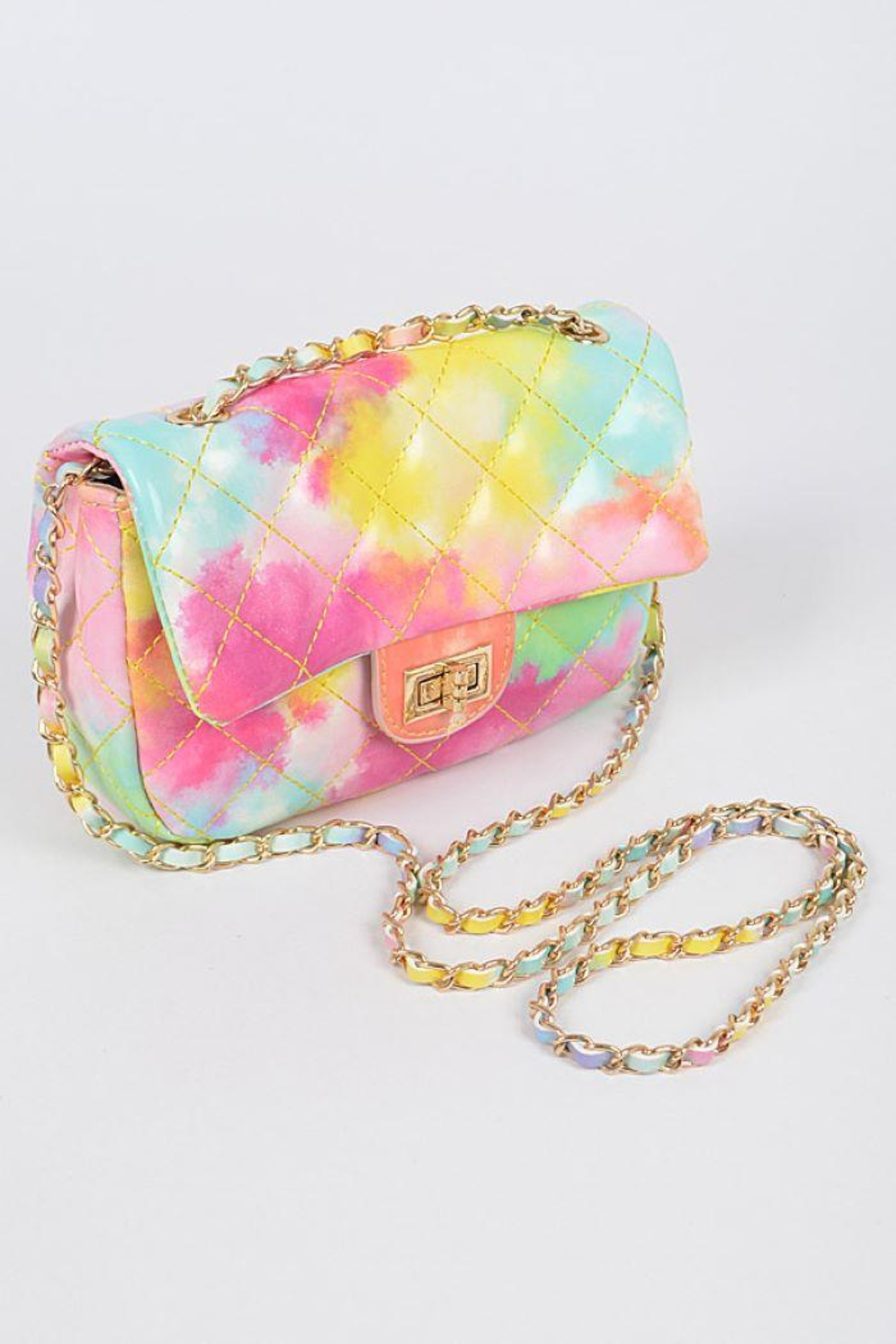 H&D Accessories Faux Leather Multi Color Quilted Clutch - Side Cropped Image