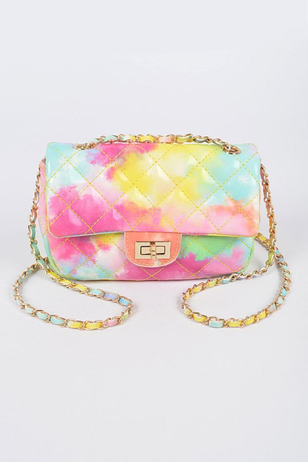 H&D Accessories Faux Leather Multi Color Quilted Clutch - Front Cropped Image