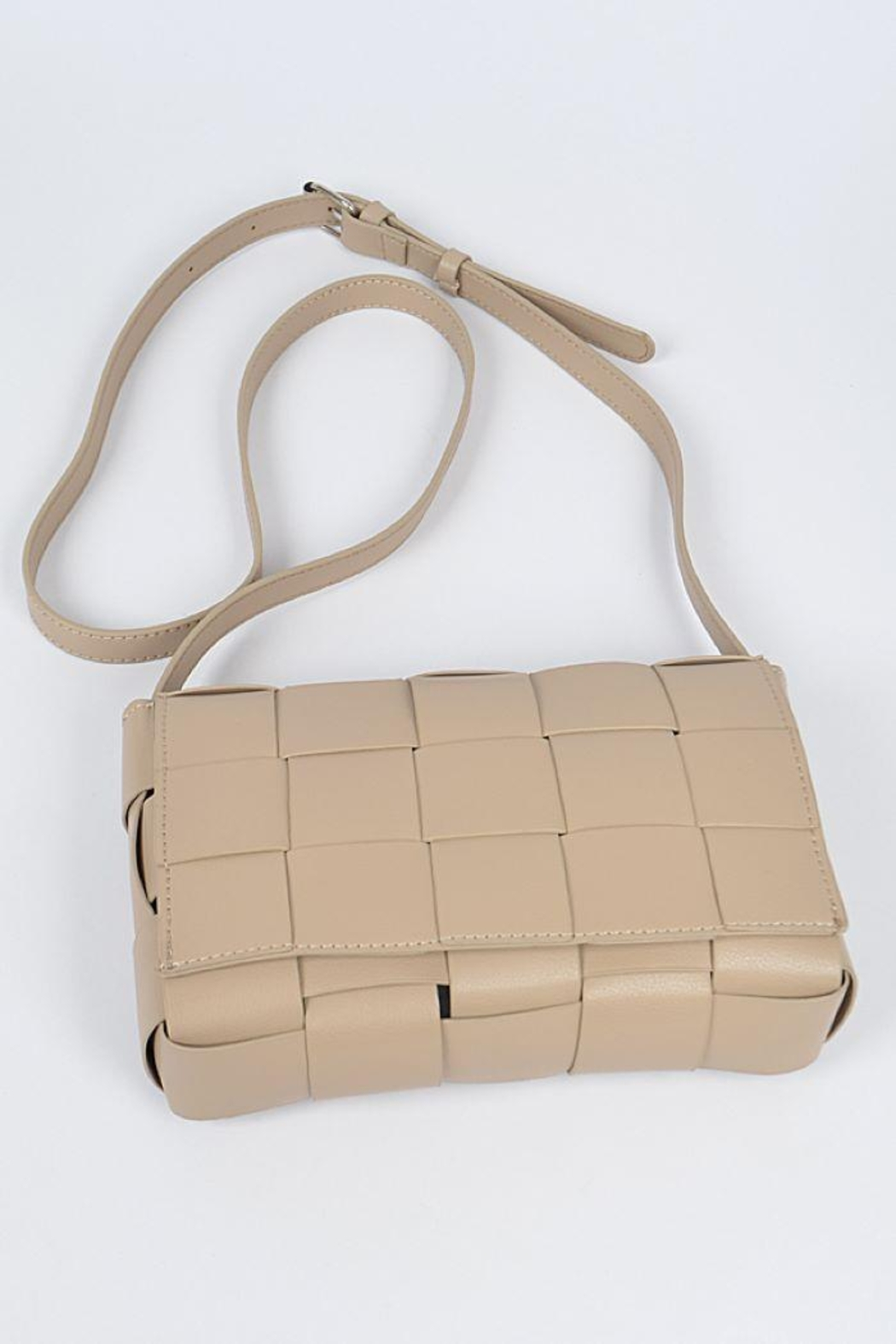 H&D Accessories Monotone Weaving Leather Clutch - Front Full Image