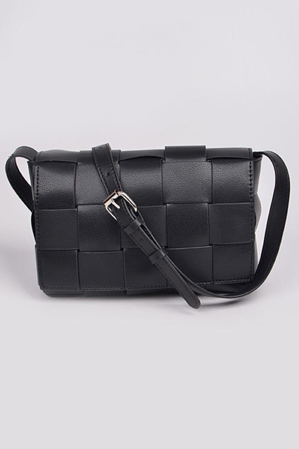H&D Accessories Monotone Weaving Leather Clutch - Front Cropped Image