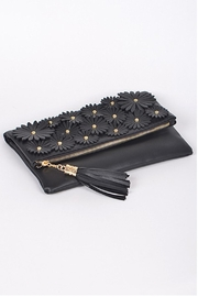 H & D Floral Embroidered Clutch - Side cropped