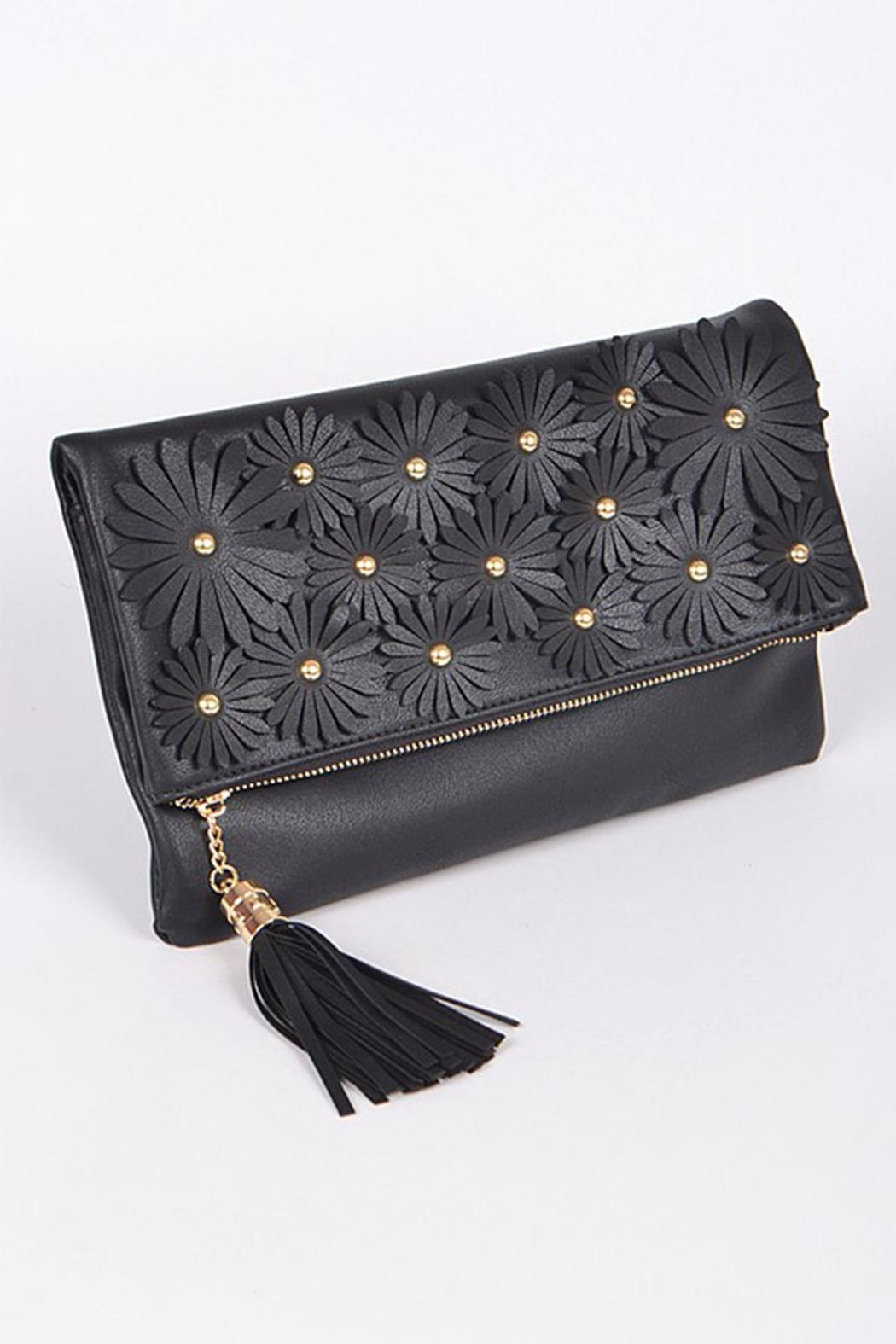 H & D Floral Embroidered Clutch - Front Full Image
