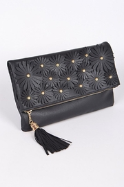 H & D Floral Embroidered Clutch - Front full body