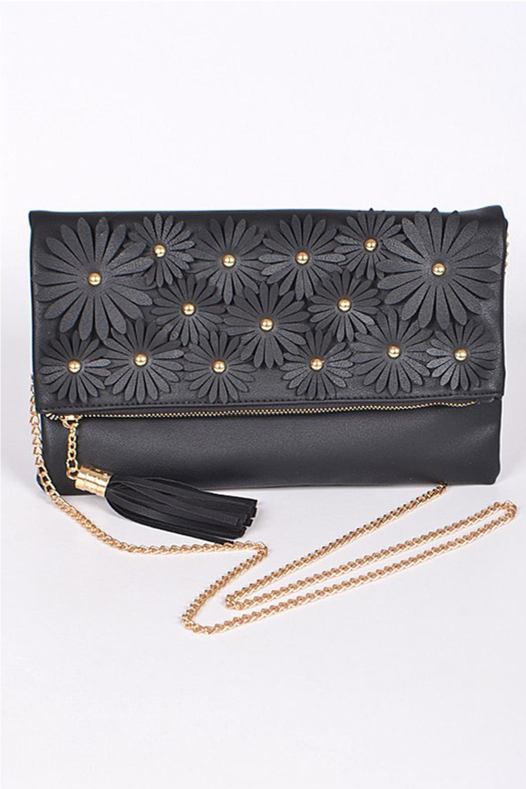 H & D Floral Embroidered Clutch - Front Cropped Image