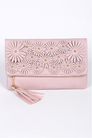 H & D Floral Embroidered Clutch - Front cropped
