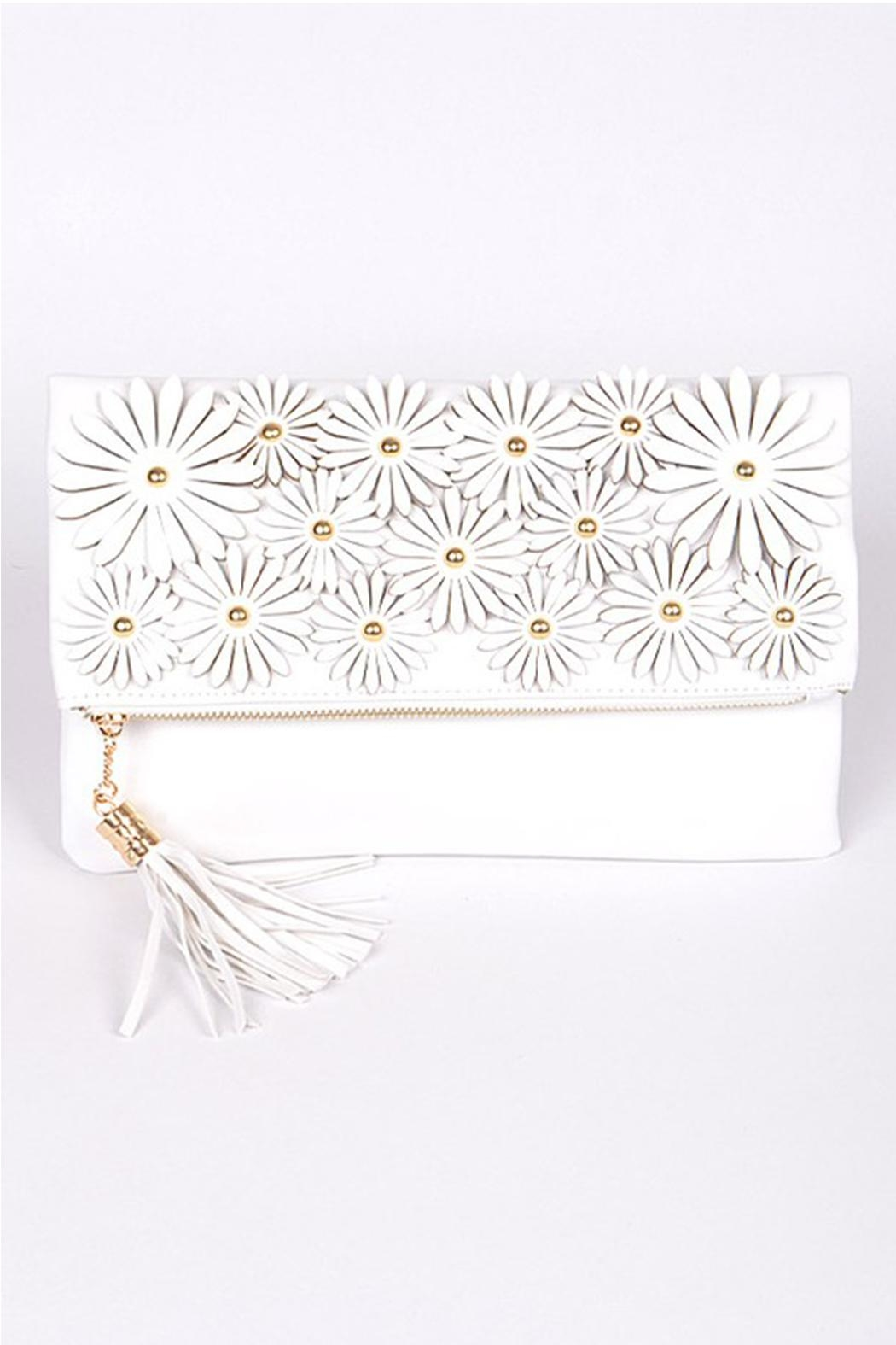 H & D Floral Embroidered Clutch - Main Image