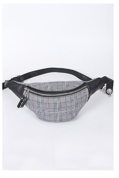Shoptiques Product: Grey Plaid Fannypack