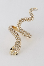 H & D Snake Rhinestone Ring - Front cropped