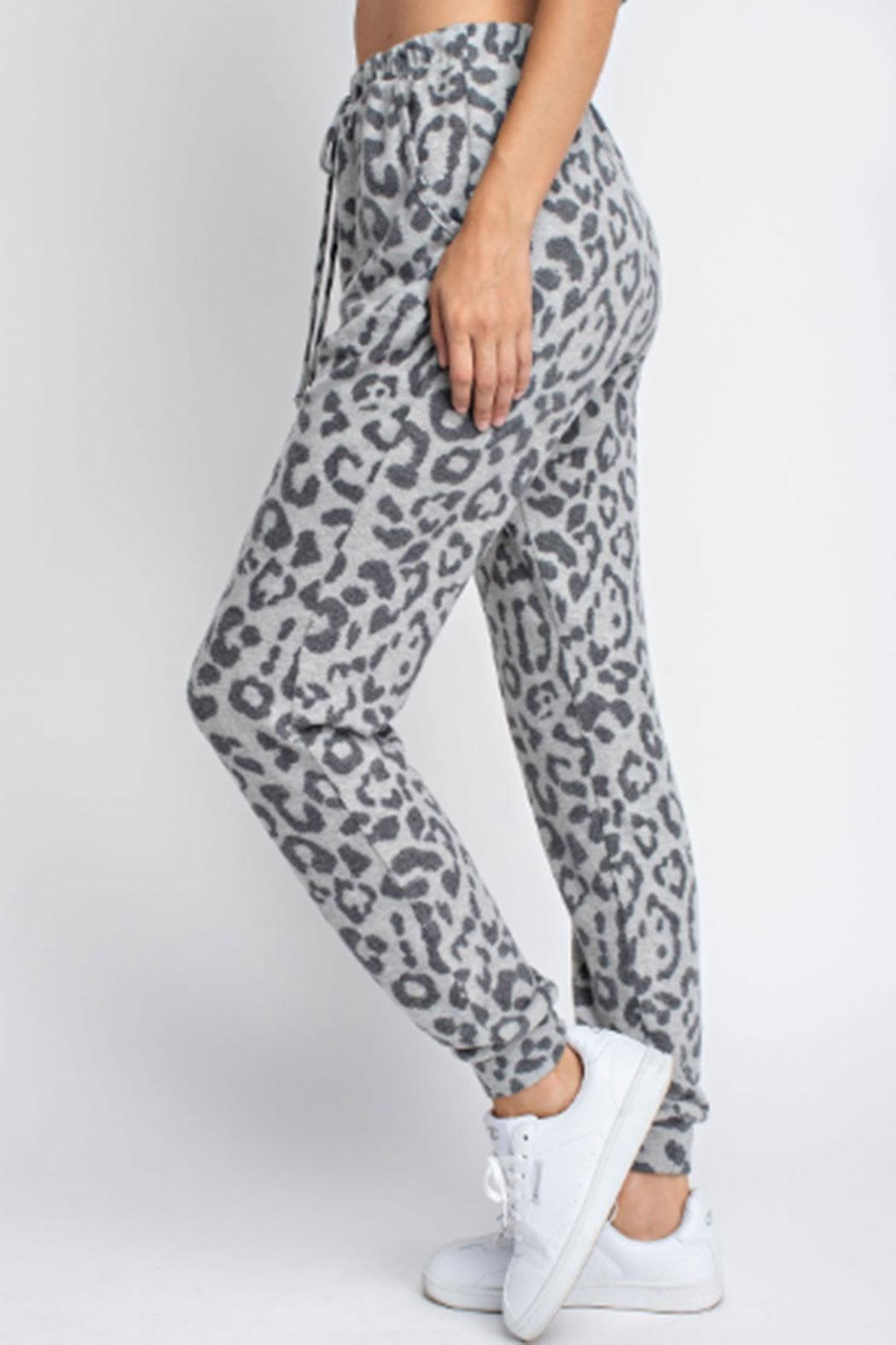 143 Story Hacci-Brushed Leopard Joggers - Front Full Image