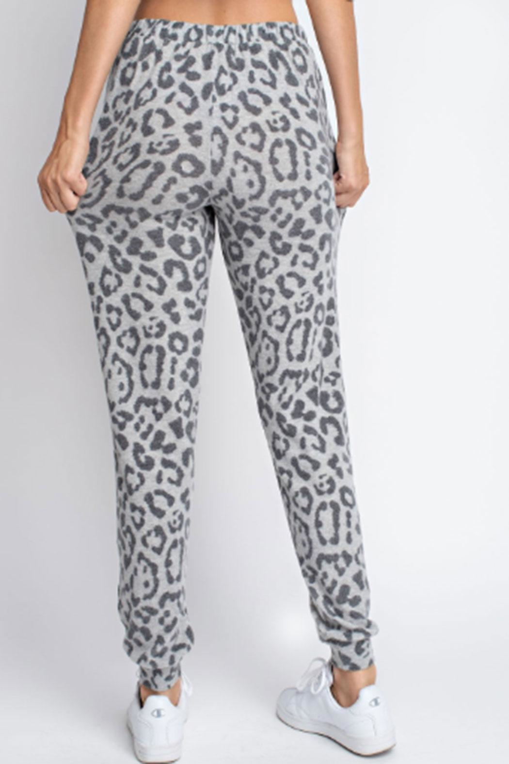 143 Story Hacci-Brushed Leopard Joggers - Back Cropped Image