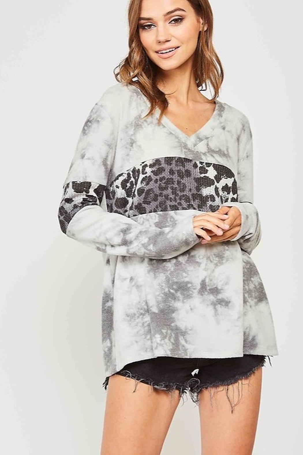 Fantastic Fawn Hacci Brushed Tie Dyed With Leopard Contrast Top - Main Image