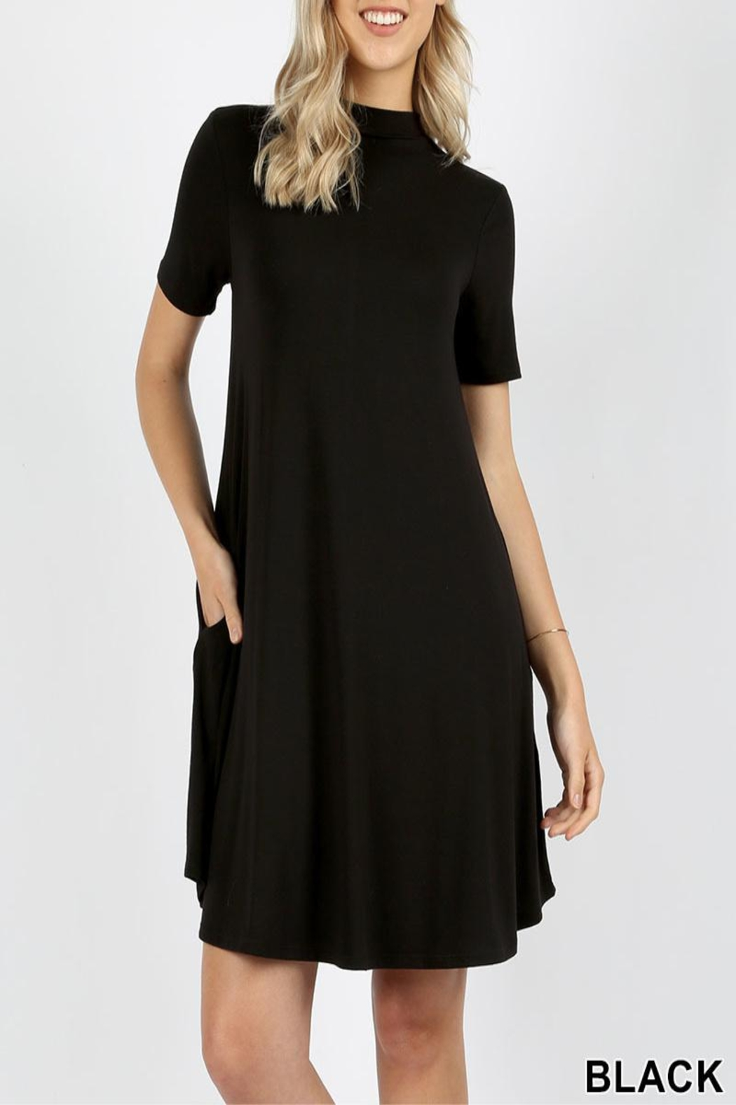 Zenana Outfitters Mock Short Sleeve Dress - Front Cropped Image