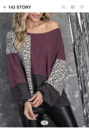 143 Story Hacci Solid and Leopard Print Top - Product Mini Image