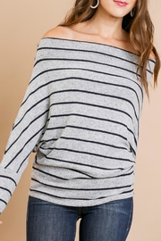 Umgee USA Hacci Stripe Off-The-Shoulder - Product Mini Image