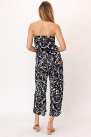 Gilli HADLEE Strapless Abstract Printed Jumpsuit with Pockets - Back cropped