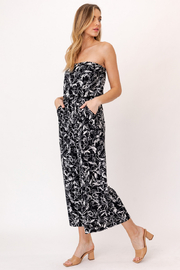 Gilli HADLEE Strapless Abstract Printed Jumpsuit with Pockets - Front full body
