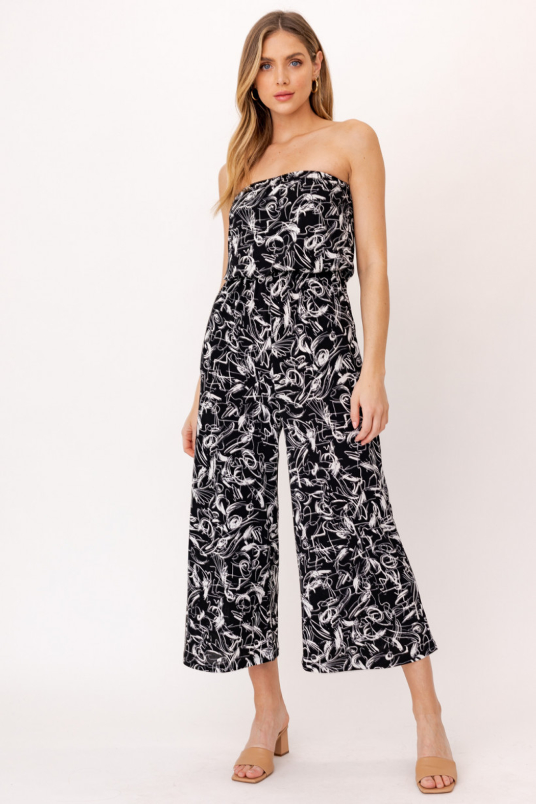 Gilli HADLEE Strapless Abstract Printed Jumpsuit with Pockets - Main Image