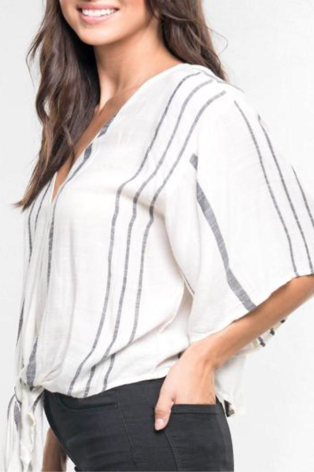 Love Stitch Hadley Striped Top - Back Cropped Image
