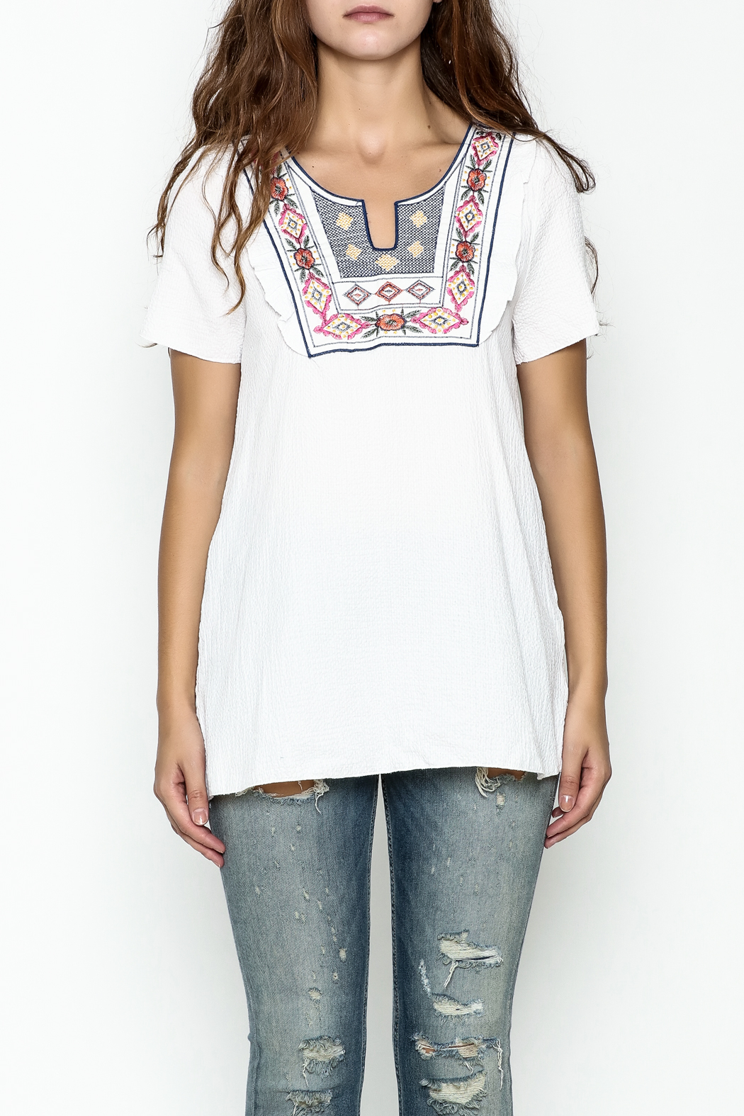Hailey & Co. Boho Embroidered Top - Front Full Image